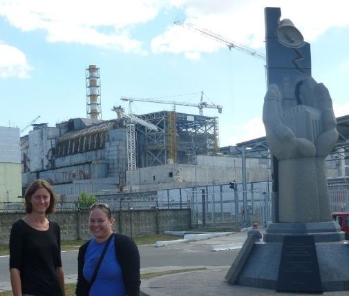 Scientists from DEEP in front of 'Reactor 4' – the cause of the Chernobyl nuclear accident in 1986. Photo credit: Clare Bradshaw